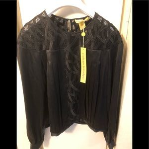 catherine malandrino Silk  Blouse Top With Lace 6